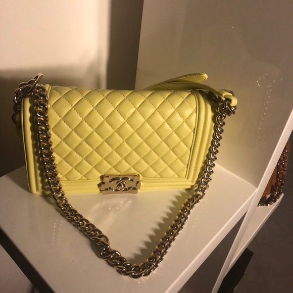 b5605cb08db7 CHANEL Bags | Sold Auth 2017 Yellow Lambskin Medium Boy | Poshmark